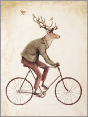 Obraz na drewnie  Deer on the bike - Mike Koubou