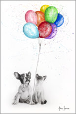 Plakat Frenchie and Siamese with colorful balloons