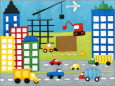 Plakat Cars and construction site in the city