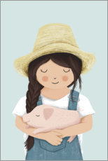Obraz na PCV  Girl with piglet - Sandy Lohß