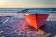 Plakat Red boat at the Baltic Sea