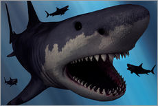 Naklejka na ścianę  A Megalodon shark from the Cenozoic Era - Mark Stevenson