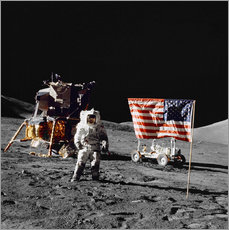 Gallery print  Apollo 17 astronaut stands near the United States flag