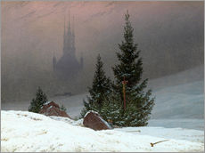 Naklejka na ścianę  Winter Landscape with a Church - Caspar David Friedrich