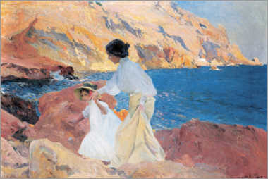 Obraz na płótnie  Clotilde and Elena on the Rocks, Javea - Joaquín Sorolla y Bastida