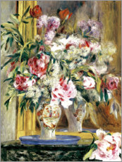 Obraz na płótnie  Vase of flowers in front of the mirror - Pierre-Auguste Renoir