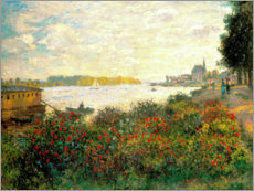 Obraz na płótnie  Red flowers on the banks of the Seine at Argenteuil - Claude Monet