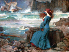 Obraz na drewnie  Miranda, sztorm - John William Waterhouse