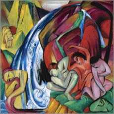 Obraz na płótnie  The waterfall (women under a waterfall) - Franz Marc