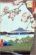 Naklejka na ścianę  Masaki and the Suijin Grove by the Sumida River - Utagawa Hiroshige