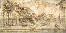 Naklejka na ścianę  Perspective Study for the background of the Adoration of the Magi - Leonardo da Vinci