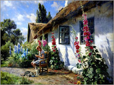 Gallery print  Knitting girl in front of a hollyhock - Peder M?rk M?nsted