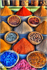 Gallery print  Colorful spices on the bazaar in Marrakech - HADYPHOTO