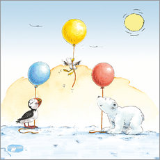 Gallery print  The little polar bear is celebrating a party