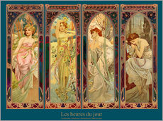Naklejka na ścianę  Les heures du jour, nuit collage (French) - Alfons Mucha
