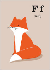 Gallery print  The animal alphabet - F like fox - Sandy Lohß