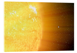 Obraz na szkle akrylowym  The relative sizes of the Sun and the Earth