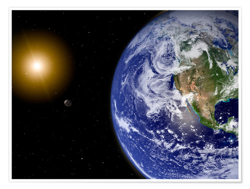 Plakat Earth with water-bearing moon