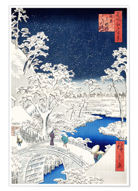 Plakat  Drum bridge and Setting Sun Hill at Meguro - Utagawa Hiroshige