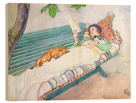 Obraz na drewnie  Woman lying on a bench - Carl Larsson