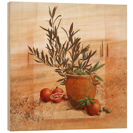 Obraz na drewnie  Pomegranate and olive harvest - Franz Heigl