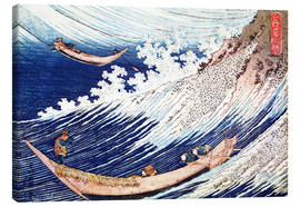 Obraz na płótnie  Two small fishing boats on the sea - Katsushika Hokusai