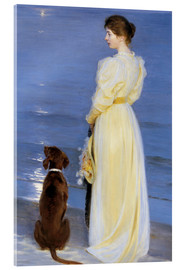 Obraz na szkle akrylowym  Summer Evening at Skagen. The Artist's Wife and Dog by the Shore - Peder Severin Kr?yer