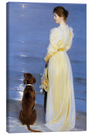 Obraz na płótnie  Summer Evening at Skagen. The Artist's Wife and Dog by the Shore - Peder Severin Kr?yer