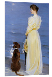 Obraz na PCV  Summer Evening at Skagen. The Artist's Wife and Dog by the Shore - Peder Severin Kr?yer