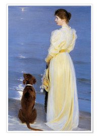 Plakat  Summer Evening at Skagen. The Artist's Wife and Dog by the Shore - Peder Severin Kr?yer