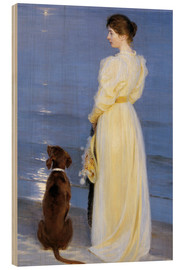 Obraz na drewnie  Summer Evening at Skagen. The Artist's Wife and Dog by the Shore - Peder Severin Kr?yer