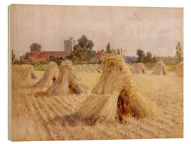 Obraz na drewnie  Corn Stooks by Bray Church - Hardy Heywood