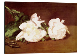 Obraz na aluminium  Branch of White Peonies and Secateurs - Edouard Manet