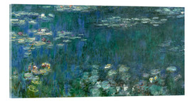 Obraz na szkle akrylowym  Waterlilies, Green Reflections - Claude Monet