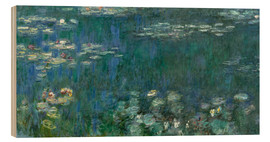 Obraz na drewnie  Waterlilies, Green Reflections - Claude Monet