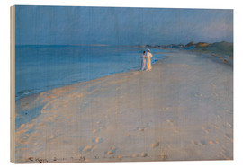 Obraz na drewnie  Summer evening at the South Beach, Skagen. Anna Ancher and Marie Kr?yer. - Peder Severin Kr?yer