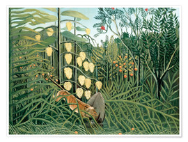 Plakat  Tiger attacks a buffalo - Henri Rousseau
