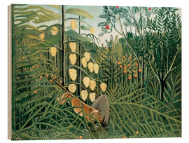Obraz na drewnie  Tiger attacks a buffalo - Henri Rousseau