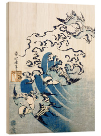 Obraz na drewnie  Waves and Birds - Katsushika Hokusai