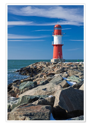 Plakat Lighthouse on the Baltic Sea coast in Warnemuende (Germany)