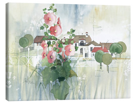 Obraz na płótnie  Rural Impression with hollyhocks - Franz Heigl