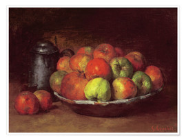 Plakat  Still Life with Apples and a Pomegranate - Gustave Courbet