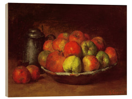 Obraz na drewnie  Still Life with Apples and a Pomegranate - Gustave Courbet