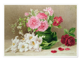 Plakat  Roses and lilies - Mary Elizabeth Duffield