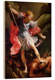 Obraz na drewnie  The archangel Michael defeating Satan - Guido Reni