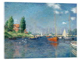 Obraz na szkle akrylowym  Red boats at Argenteuil - Claude Monet