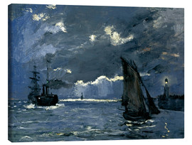Obraz na płótnie  Ships in Moonshine - Claude Monet