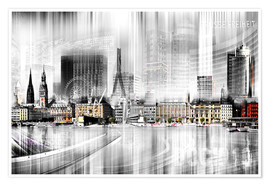 Plakat  Hamburg Skyline, Germany - Städtecollagen