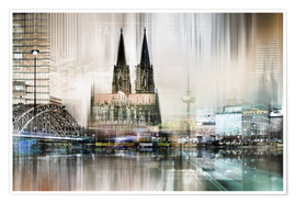 Plakat Abstract skyline in Cologne, Germany