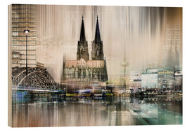 Obraz na drewnie  Abstract skyline in Cologne, Germany - Städtecollagen